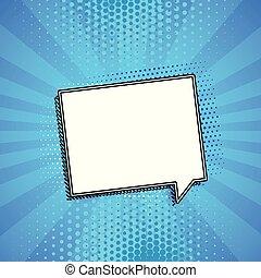 blå, pratstund, copyspace, bakgrund, komiker, bubbla