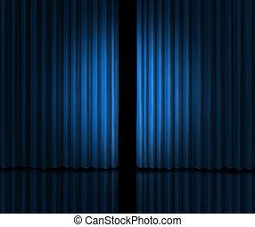 blå, presentera, scen ridå