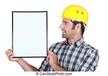blå, profil, copyspace, ung, holdingen, helmeted, krage