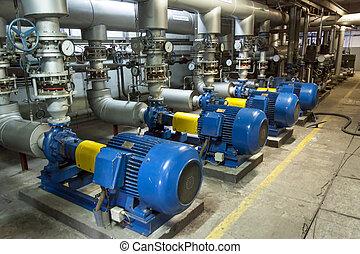 blå, pump, industriell