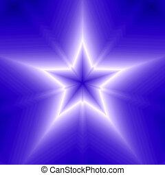 blå, punkt, konstruktion, fem, stjerne