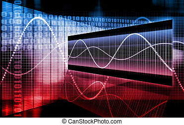 blå, rød, aktie markedsfør, analyse