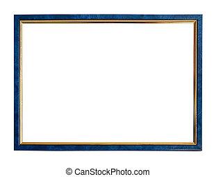 blå, ramme, billede, tynd