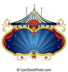 blå, ramme, cirkus, trylleri