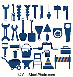 blå, redskaberne, arbejder, ikon