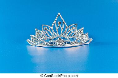 blå, reflexion, diadem, bakgrund, tiara, eller