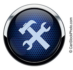 blå, reparera, vaxkaka, ikon