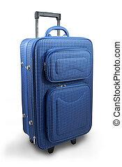 blå, resa, resväska