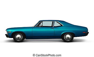 blå, retro, automobilen, på hvide