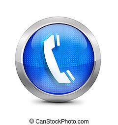 blå, ringa, knapp, ikon