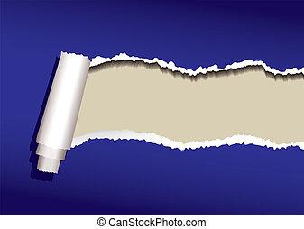 blå, ringla, papper