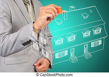 blå, rita, affär, hus, bakgrund, man