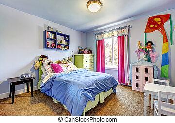 blå, room., sovrum, flickor, interior., barn