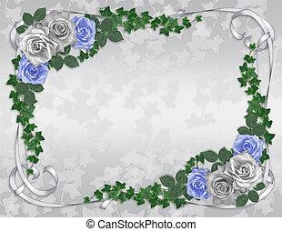 blå, rose, bryllup, grænse, invitation