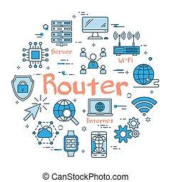 blå, router, begrepp, runda