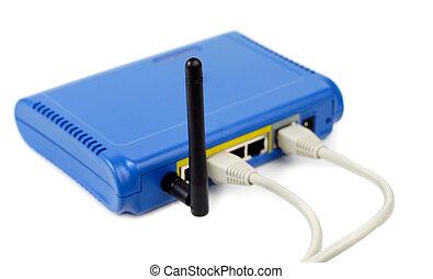 blå, router, forbundet