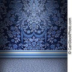 blå, rum, damast