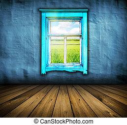 blå, rum, gulv, af træ, vinhøst, himmel, det, mørke, felt, vindue, above