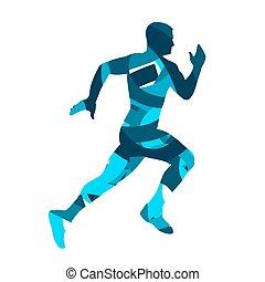 blå, runner., silhuet, løb, vektor, mand