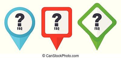 blå, sätta, bakgrund, färgrik, pekare, isolerat, icons., edit., vektor, grön, lokalisering, lätt, vit röd, aleatory, märken