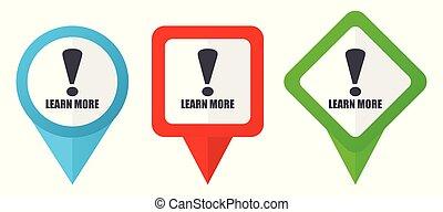 blå, sätta, bakgrund, färgrik, utbyte, pekare, isolerat, icons., edit., vektor, grön, lokalisering, lätt, vit röd, märken