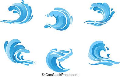 blå, sätta, hav, vågor