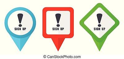 blå, sätta, http, bakgrund, färgrik, pekare, isolerat, icons., edit., vektor, grön, lokalisering, lätt, vit röd, märken