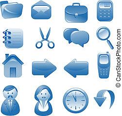 blå, sätta, ikonen