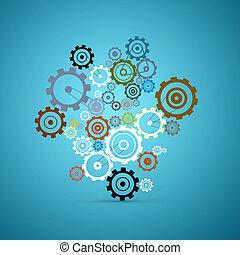 blå, sätta, kuggar, abstrakt, -, vektor, utrustar, bakgrund