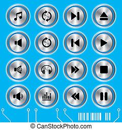 blå, sätta, musik, ikonen