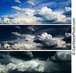 blå, sæt, himmel, stormfuld himmel, -, dramatiske