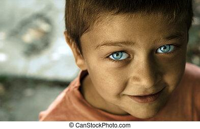 blå, söt, ögon, unge