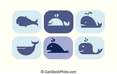 blå, söt, djuren, hav, ikonen, sätta, illustration, färger, vektor, bakgrund, undertecknar, val, vit, varelse