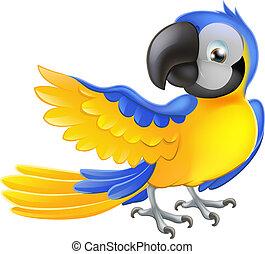 blå, söt, gul, papegoja