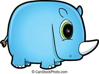 blå, söt, konst, noshörningen, vektor, safari