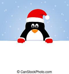 blå, söt, snöig, bakgrund, lycklig, pingvin