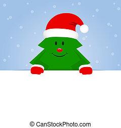 blå, söt, snöig, träd, bakgrund, jul, lycklig