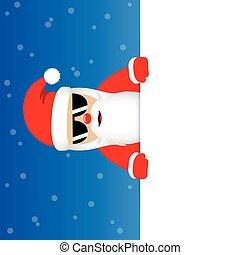blå, söt, solglasögon, jultomten, snöig, claus, bakgrund, lycklig