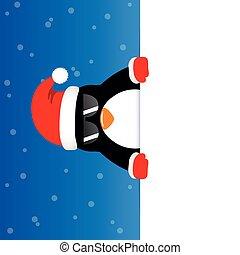 blå, söt, solglasögon, snöig, bakgrund, pingvin, lycklig