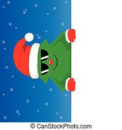 blå, söt, solglasögon, snöig, träd, bakgrund, jul, lycklig