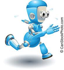 blå, söt, spring, tecken, robot
