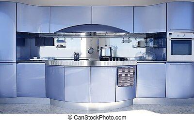 blå, sølv, køkken, moderne arkitektur, dekoration