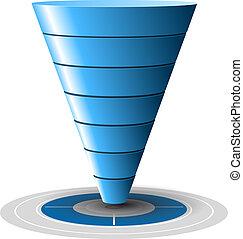 blå, sagtens, omvendelse, afsætningen, target, niveauer, customizable, 1, tones., vektor, plus, 7, graphics., tragt, eller