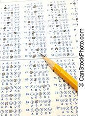 blå, scantron, bubbla, pröva, med, numrera två, blyertspenna