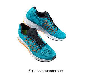 blå, shoes., par, sports