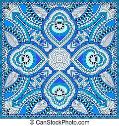 blå, sjalett, fyrkant, hals, mönster, ukrain, design, silke...