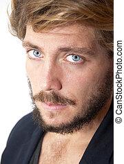 blå, skägg, ögon, man, stilig