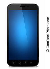 blå skärma, isolerat, vana, ringa, tom, smart
