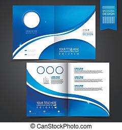 blå, skabelon, konstruktion, by, reklame, brochure