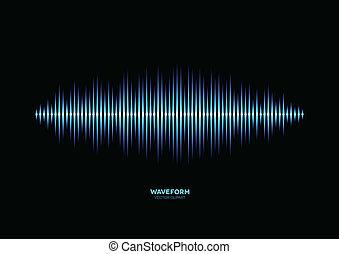 blå, skinnende, musik, waveform